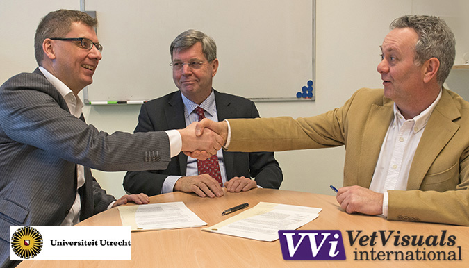 On 18 February 2015, Dr W. Dirksen, Director of the Faculty of Veterinary Medicine at Utrecht University, the management of the Department of Clinical Sciences of Companion Animals of this faculty and André Romijn, Publishing Director of VetVisuals© International, signed an agreement to create an educational partnership